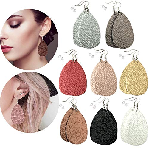 (8 Pairs Leather Earrings Lightweight Leaf Dangle Earrings Teardrop Earrings Antique Handmade Earrings for Women/Girls/Birthday/Anniversary/Mother's Day/Valentine's Day)