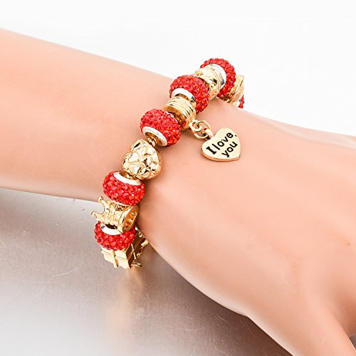 Long Way Gold Plated Snake Chain Glass Beads ''I Love You'' Charm Beaded Bracelets for Women by Long Way (Image #3)