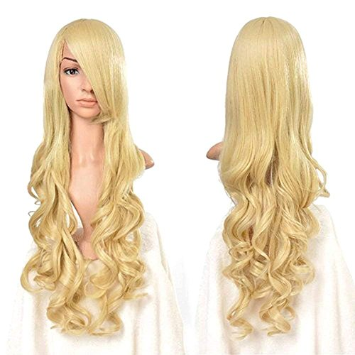 Rbenxia Curly Cosplay Wig Long Hair Heat Resistant Spiral Costume Wigs Anime Fashion Wavy Curly Cosplay Daily Party Light Gold 32