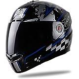 Steelbird Racer SBA-1 Helmet with Plain Visor (Matt Black and Blue, L)