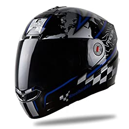 Steelbird SBA-1 Racer Matt Black with Blue with Smoke Visor,600mm