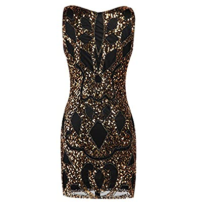 Clothingloves Women's 1920's Sequin Dress Art Deco Hollow Paisley Casual Cocktail Flapper Party Dress