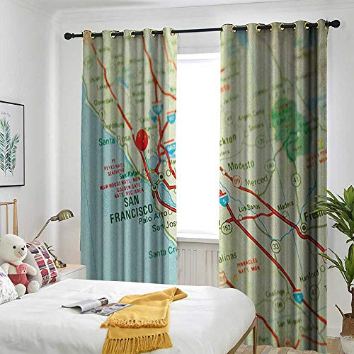Customized Curtains Trolley Bag Curtain Insulation Board Home Decoration Map,Vintage Map of San Francisco Bay Area with Red Pin City Travel Location Pale Blue Pale Green Red