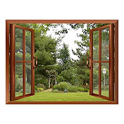 Magnificent Technique, Beautiful Garden Backyard View from Inside a Window Removable Wall Sticker Wall Mural, Created By a Professional Artist