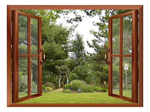 - wall26 Beautiful Garden/Backyard View from Inside a Window Removable Wall Sticker/Wall Mural - 36