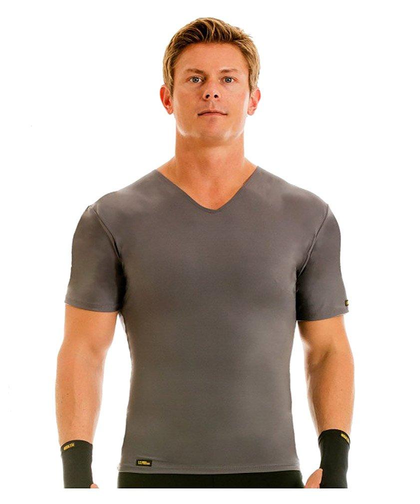 Insta Slim Grey V-Neck Men's Firming Compression Under Shirt (Medium)