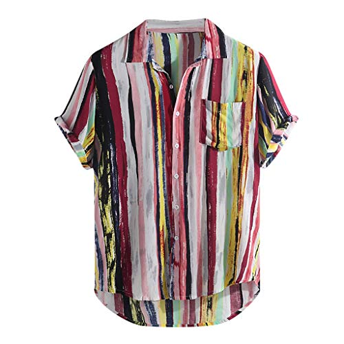 Linen Shirts for Men,ONLY TOP Mens Linen Button Up Shirts Short Sleeve Comfort T-Shirts Color Block Stripes Shirt