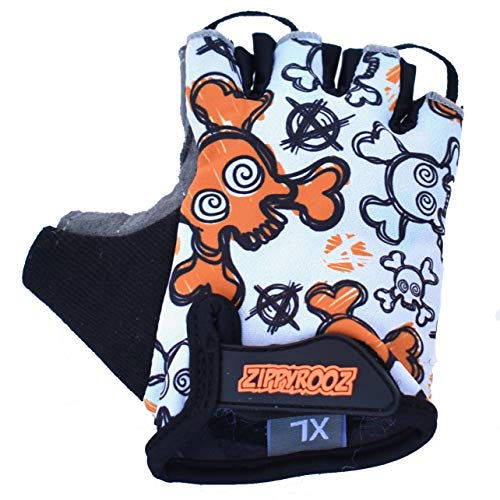 ZippyRooz Toddler & Little Kids Bike Gloves for Balance and Pedal Bicycles (Formerly WeeRiderz) for Ages 1-8 Years Old. 6 Designs for Boys & Girls (Skulls, Little Kids XL (7-8))