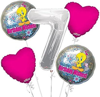 Amazon Tweety Bird Birthday Wishes Balloon Bouquet 7th 5 Pcs