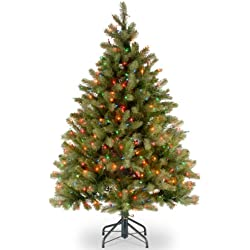 """National Tree 4.5 Foot """"Feel-Real"""" Downswept Douglas Fir Tree with 450 Multicolor Lights, Hinged (PEDD1-325-45)"""