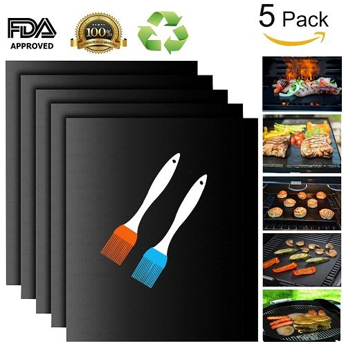 Lowest Price! Grill Mat - Set of 5 Non Stick BBQ Grill Mats - PTFE Teflon Baking sheets - Heavy Duty...