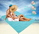 Sand Free Beach Blanket, Sand Proof Blanket ,Sandless Beach Mat , Dirt & Dust disappear - Made From Strong polyester, Includes 4 Corner Buckle
