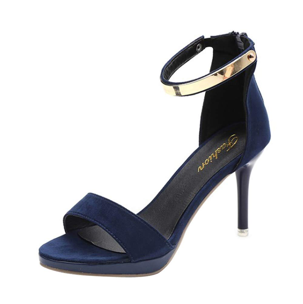 Pumps For Women, Clearance Sale !! Farjing Fashion Round Toe Buckle Strap Comfortable Work High Heel Party Shoes(US:5.5,Dark Blue)