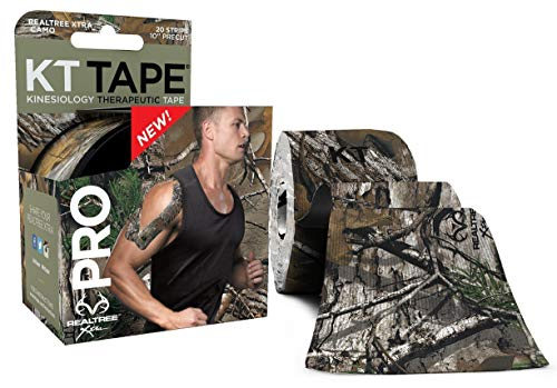 (KT Tape Pro Kinesiology Therapeutic Sports Tape, 20 Precut 10 inch Strips, Latex Free, Water Resistance, Pro & Olympic Choice, Realtree Camo )