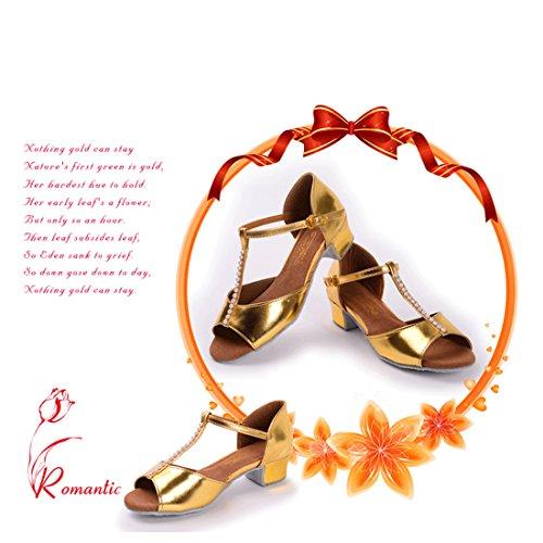Girls Ballroom Latin Tango Dance Shoes Sequins Glitter 3cm Heeled Gold