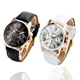 Top Plaza Fashion Women's Analog Watch, PU Leather Band Rose Gold Tone, Black+White, Pack of Two