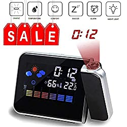 Multi-function Digital Projection Alarm Clock With Weather Station Electronic Desk Clock With Time Projection Bedside Wake Up Projector Watch (balck)