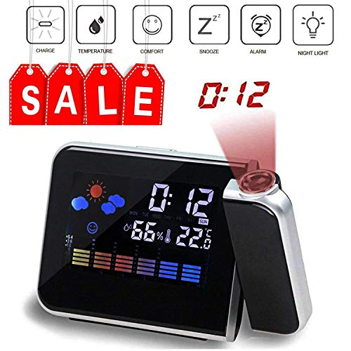 (Multi-function Digital Projection Alarm Clock With Weather Station Electronic Desk Clock With Time Projection Bedside Wake Up Projector Watch (balck) )