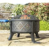 Moroccan Pattern Deep Bowl Firepit With Grill
