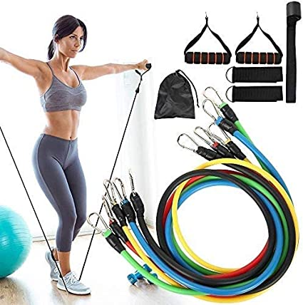 11Pcs Portable Fitness Exercise Bands Home Workout and Gym Fitness Training Tube