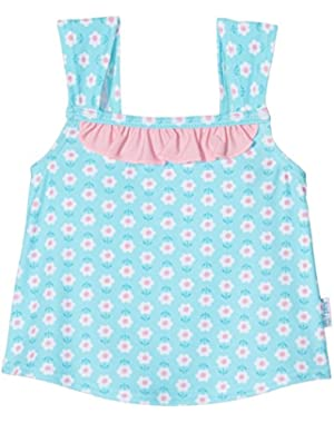 I Play Baby Girls Classic Ruffle Swimsuit Top Aqua Daisy 18M