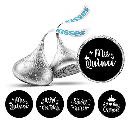 Darling Souvenir Hershey's Kisses Candy Labels 190 Pcs Quinceanera Party Theme Stickers-Black & White