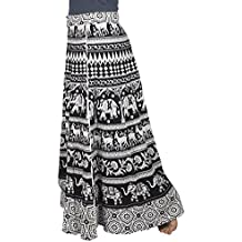 Store Indya 100% Cotton Warp Around Skirts Bohemian Style Adjustable Mandala Print Casual Wear For Women