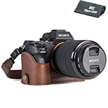 """MegaGear """"Ever Ready"""" Leather Camera Case for Sony Alpha A7S II, A7R II, A7 II  28-70mm  - Half-Bottom Protective Cover - Durable Drop, Scratch and Shock Protector"""