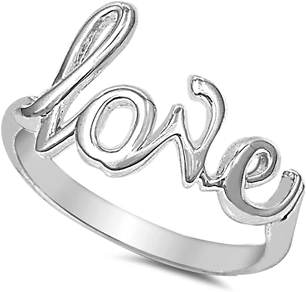 Princess Kylie Sterling Silver Love Word Ring Silver Color Options, Sizes 2-15