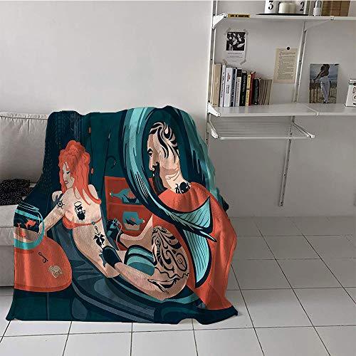 Khaki home Children's Blanket pop Print Summer Quilt Comforter (60 by 80 Inch,Mermaid Decor Collection,Tattoo Master Sailor Draws on The Body of a Mermaid Workshop Tattooist Image Pattern,Dark Teal -