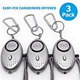 Safe Personal Alarm, Self Defense For Women and Kids - Whit Flashlight for Emergency Night Situation, 140 dB Loudest Personal Security Alarm Keychain, Offered Carabiners, 3 Pack