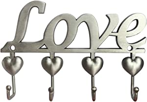 Myartte Key Holder- Key Hooks Decorative for Wall Decorative Zinc Alloy Key Organizer Rack with 4 Hooks -with Screws and Sticker (Antique Sliver Love)