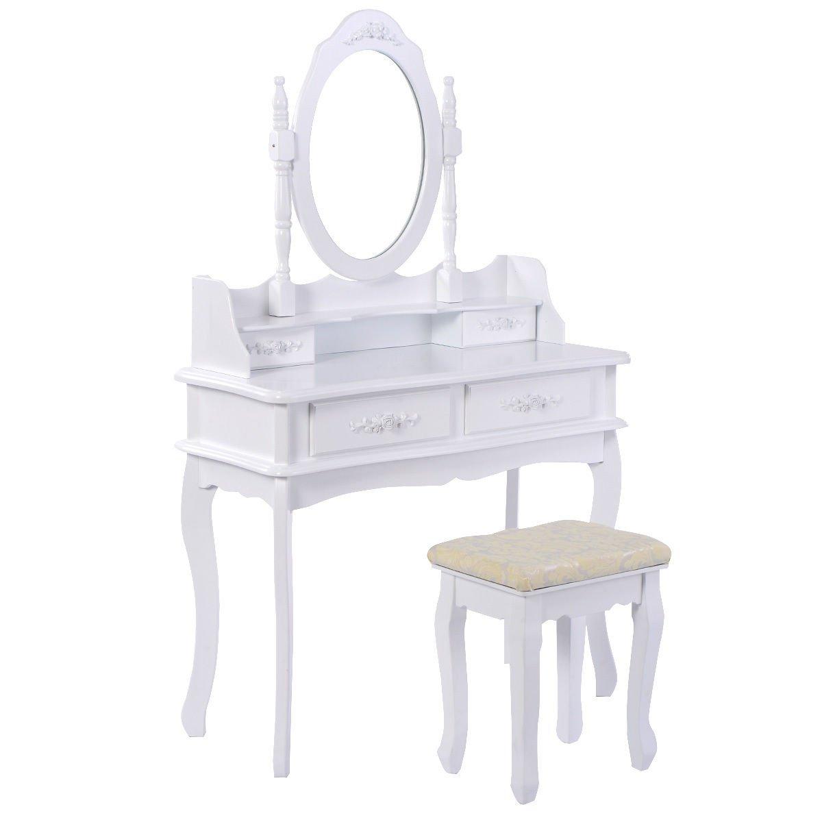 Amazon.com: Giantex White Bathroom Vanity Jewelry Makeup Dressing Table Set  W/Stool Mirror Wood Desk (4 Drawers): Kitchen U0026 Dining