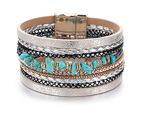 Fesciory Women Multi-Layer Leather Wrap Bracelet Handmade Wristband Braided Rope Cuff Bangle with Magnetic Buckle Jewelry (Turquoise) ()