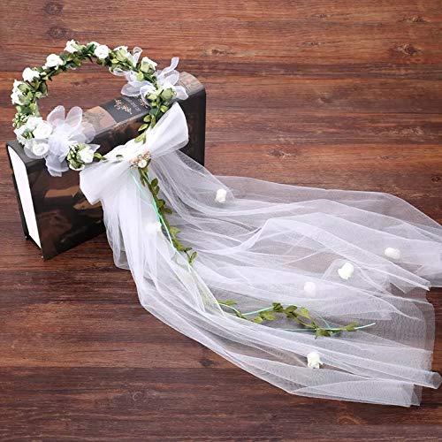 Flower Crown White Girls Headpiece,Women's Flower Festival Wedding - Headband Flower Crown Hair Wreath Halo With Adjustable Ribbon