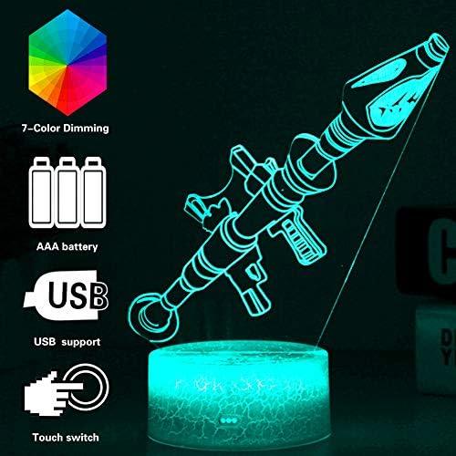 3D Lampe Spiel Chug Jug Narbe Raketenwerfer Gleiten LED Nachtlicht 7 Farbwechsel Touch Stimmung Lampe Dropship