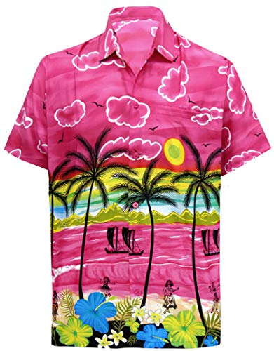LA LEELA Shirt Casual Button Down Short Sleeve Beach Shirt Men Aloha Pocket 166