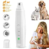 Volwco Pet Nail Grinder Rechargeable, Low Noise Electric Nail Grinder Paw Trimmer Low Vibration Painless File Nail Grooming Tool with 2 Speeds for Small Medium Large Dogs Cats Rabbits Animals