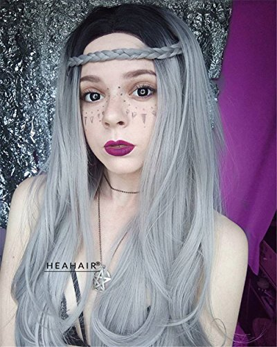 Heahair Retro Layered Long Straight Silver Gray Dark Roots Mermaid Witch Handmade Heat Resistant Synthetic Lace Front Wig (22