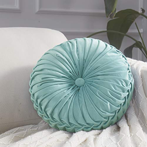 "Cassiel Home 14.5"" Pintuck Round Throw Pillow - Handcrafted Pumpkin Velvet Floor Pillow - Gold Throw Pillows Cushion for Chair Couch(Solid Light Teal)"
