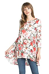 Frumos Womens Tunic 3/4 Sleeve Flower Print Tunic Top Ivory Combo Large