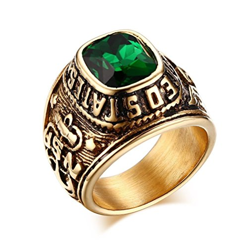 United States Navy Rings,Marine Corps,USMC,Stainless Steel Gold Plated Green CZ Stone ,Size 9
