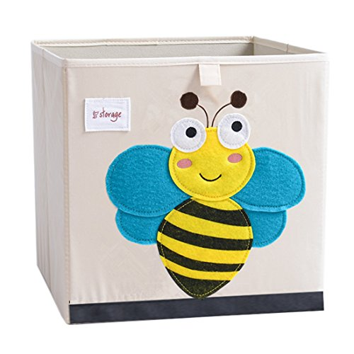 (DODYMPS Foldable Animal Canvas Storage Toy Box/Bin/Cube/Chest/Basket/Organizer for Kids, 13 inch (Bee))
