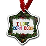 Christmas Ornament I Love Corn dogs, Colorful - Neonblond