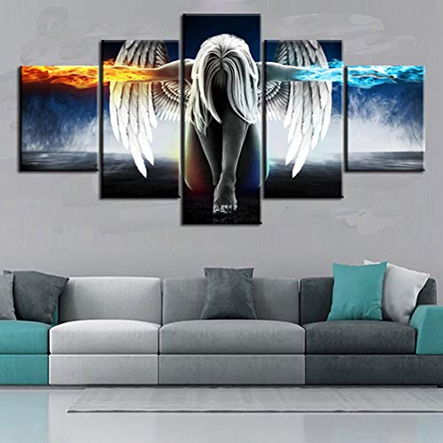 (KKJJ Prints on Canvas 5 Panels Image Printed on Non Woven Canvas Angel & Devil Girl Wall Art Print for Living Room Wall Decoration Home Modern Decoration Print Decor,size30cm)