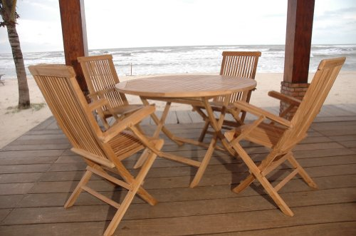 Teak Outdoor Patio Table w/ 4 Classic Dining Chairs
