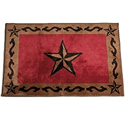 HiEnd Accents Western Star Kitchen and Bath Rug, 24 x36, Red