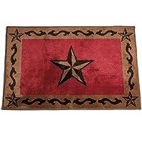 HiEnd Accents Western Star Kitchen Bath Rug, 24 x36, Red