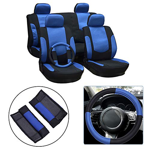 , Universal Seat Cushion w/Headrest Cover/Steering Wheel/Shoulder Pads 100% Breathable Automotive Accessories with Durable Washable Mesh/Polyester for Most Cars(Black/Blue) ()