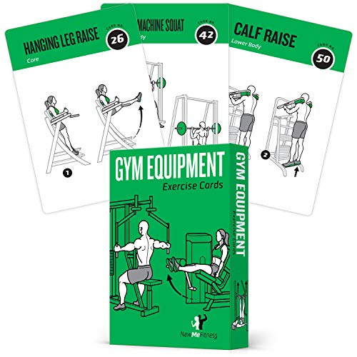 Gym Equipment Exercise Cards, Set of 62 :: Guided Workouts for Strength & Cardio :: Illustrated Fitness Cards with 50 Exercises, for Men & Women :: Large, Durable, Waterproof
